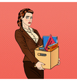Fired Woman Disappointed Businesswoman Pop Art vector image vector image