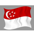 Flag of Singapore waving on a gray background vector image