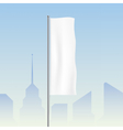 Flag waving on a city background vector image
