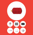 flat icon industry set of container heater tube vector image vector image
