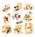freelance isolated icons freelancers with laptops vector image