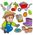 gardener with various objects vector image