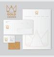 gold crown origami monogram flat identity vector image vector image