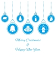 Hanging blue baubles vector image vector image