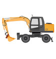 image of a yellow excavator on a wheeled chassis vector image