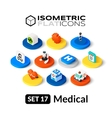 Isometric flat icons set 17 vector image