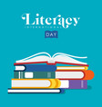 literacy day of kids school books vector image vector image