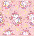 magic seamless pattern with unicorn moon stars vector image