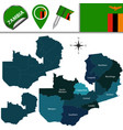 map of zambia with named provinces vector image vector image