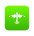 military fighter aircraft icon digital green vector image vector image