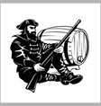 pirate with a gun and barrel vector image vector image