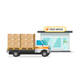 post office cargo truck or vehicle loaded parcel vector image vector image