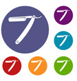 razor blade icons set vector image vector image