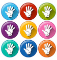 Round icons with hands vector image