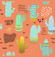 seamless pattern cactuses childish background vector image
