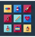set medical icons in flat design style vector image vector image