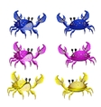 Set of three colorful crab isolated from two sides vector image