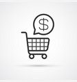 shopping cart flat line trendy black icon eps10 vector image vector image