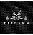 silver skull holding barbell in teeth vector image vector image