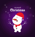 snow man with purple background and card vector image