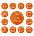 Street food retail thin line icons set food truck vector image