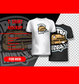 t-shirt mockup with retro muscle car phrase in vector image vector image