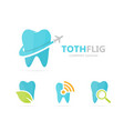 tooth and airplane logo combination vector image vector image