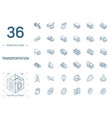 transport and transportation isometric line icons vector image