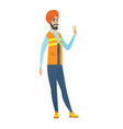 young hindu builder showing victory gesture vector image vector image