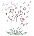 pink heart flowers Happy Mother s Day vector image
