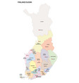 administrative and political map finland vector image vector image