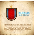 Aged card with shield label with crown vector image