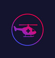 air ambulance medical helicopter icon vector image vector image