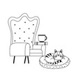 armchair coffee cup book and cat isolated icon vector image vector image