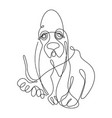basset hound dogone line drawing continuous line vector image