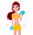 beautiful fit girl with dumbbell weights vector image