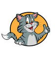 cartoon cat thumbs up vector image vector image