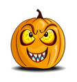 cartoon halloween pumpkin with bloody teeth vector image