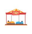 cartoon of bumper cars attraction vector image vector image