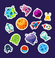 cartoon space planets and ships stickers vector image