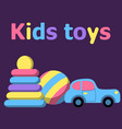 children s toys on a dark background pyramid vector image vector image