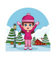 cute girl in winter vector image