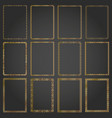 decorative rectangle gold frames and borders set vector image vector image