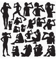 drinking water silhouettes vector image vector image