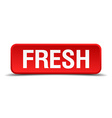 Fresh red 3d square button isolated on white vector image vector image