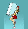 funny woman courier shipping box delivery service vector image