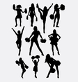 Girl cheerleader pose silhouette vector image vector image
