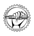 hand holding spark plug spare part industry vector image vector image