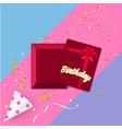 happy birthday celebration party banner golden vector image