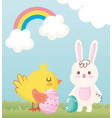 happy easter rabbit and chicken with eggs in grass vector image vector image